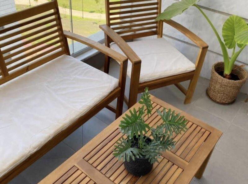 סט ישיבה מעץ אקליפטוס דגם טוקיו