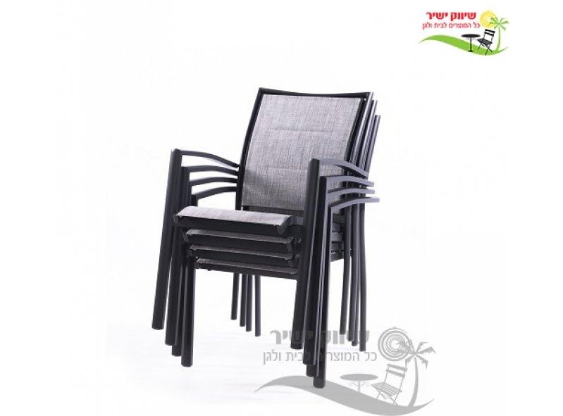 4 כסא אלומיניום דגם זוהר אפור