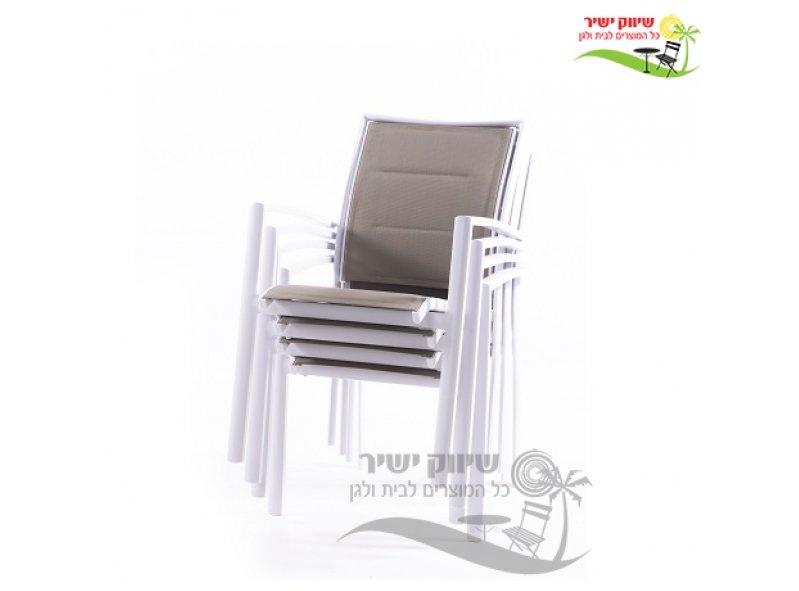4 כסאות אלומיניום דגם זוהר לבן