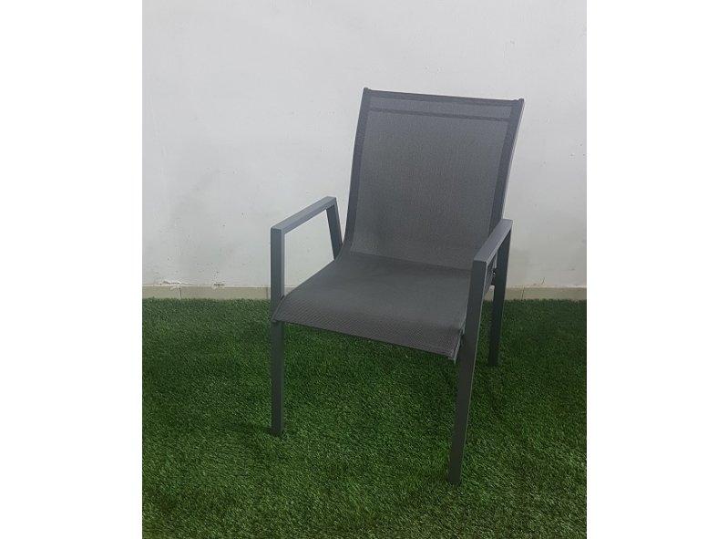 4 כסא אלומיניום דגם חן אפור