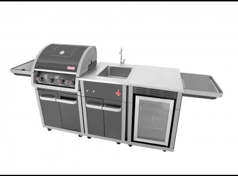 גריל גז מטבח + כיור + מטבח דגם גלקסי 4 שחור