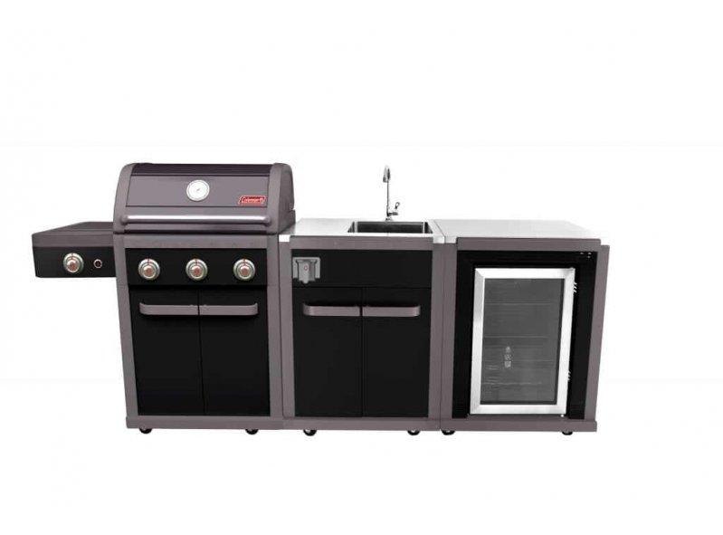גריל גז מטבח + כיור + מקרר דגם רבולושן 3 שחור