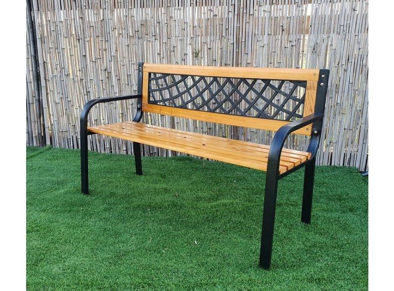 ספסל ישיבה זוגי מעץ בשילוב מתכת