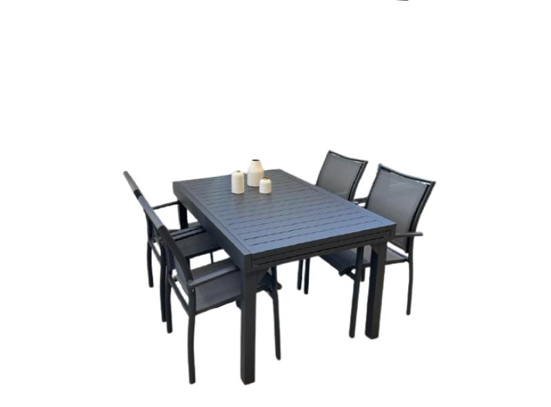 שולחן ג'וי 135 270 ו4 בונדי אפור