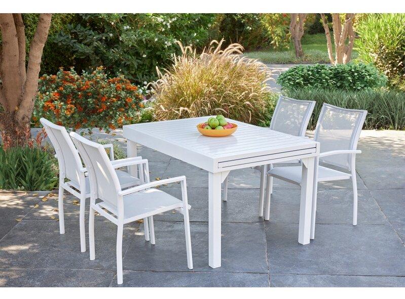 שולחן ג'וי 135 270 ו4 בונדי לבן