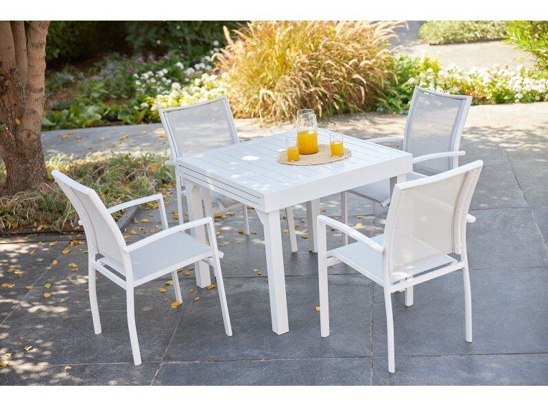 שולחן ג'וי 90 90 ו4 בונדי לבן