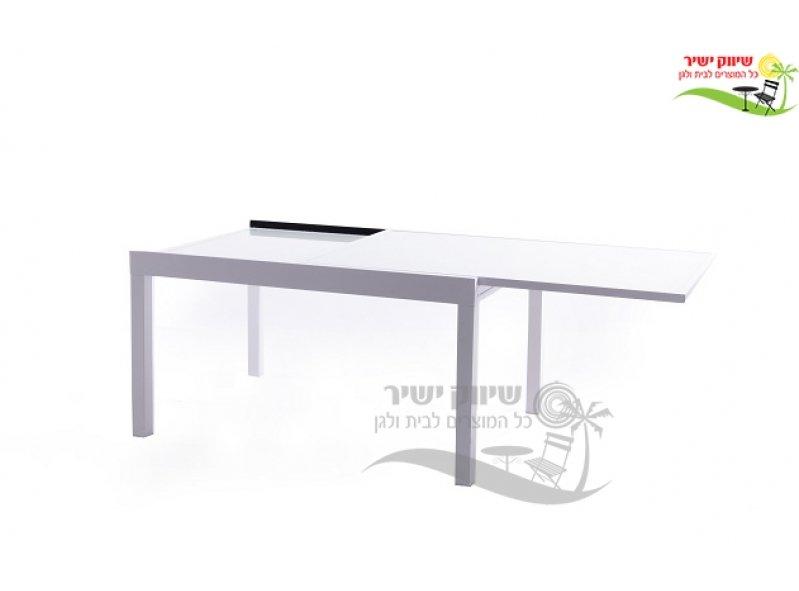 שולחן אלומניום 100*140 נפתח ל-280 לבן