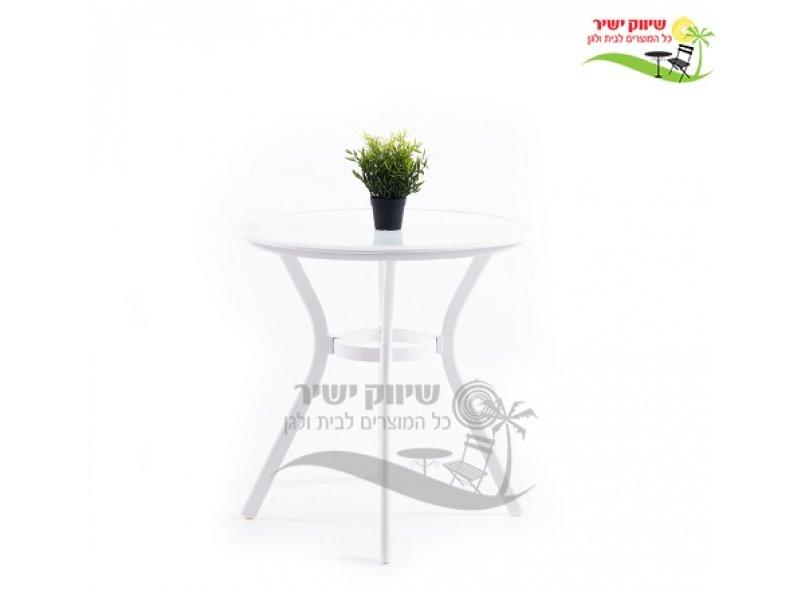 """שולחן אלומיניום 72 ס""""מ עגול לבן"""