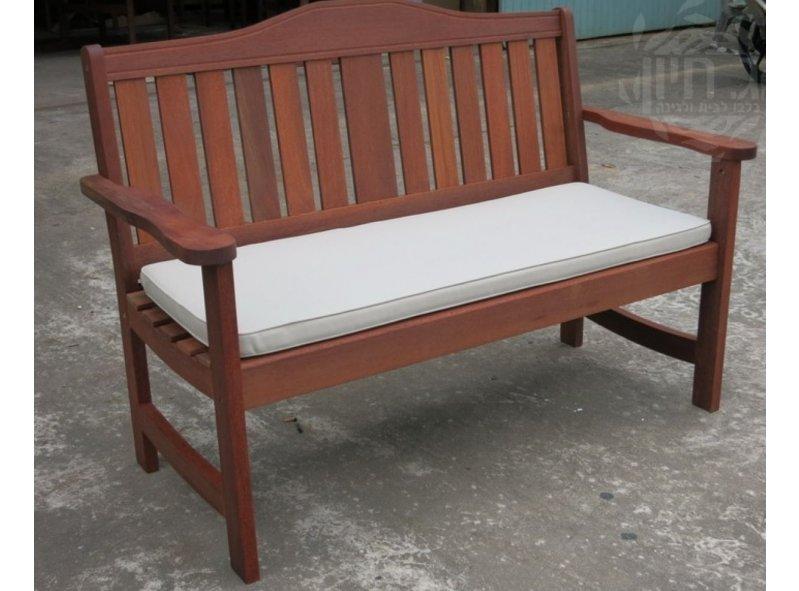 ספסל ישיבה זוגי מעץ טיק + ריפוד