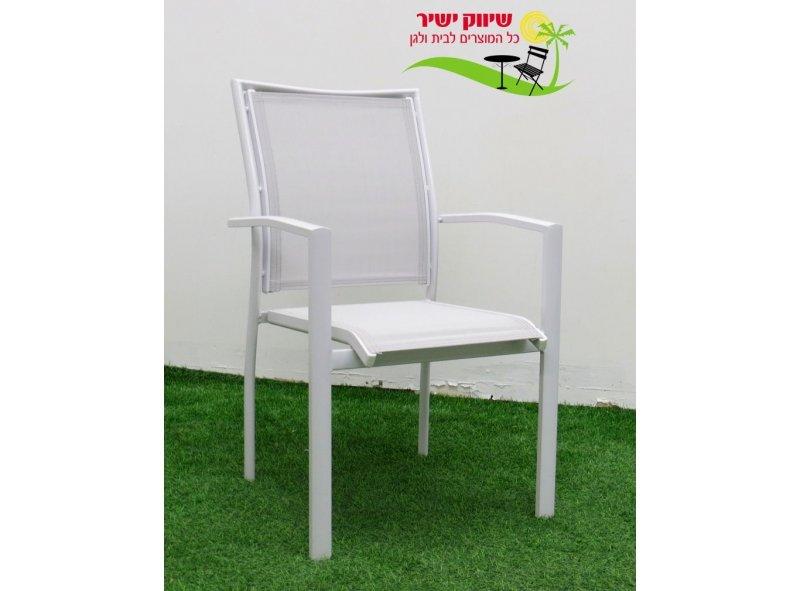 4 כסא אלומיניום דגם בונדי לבן