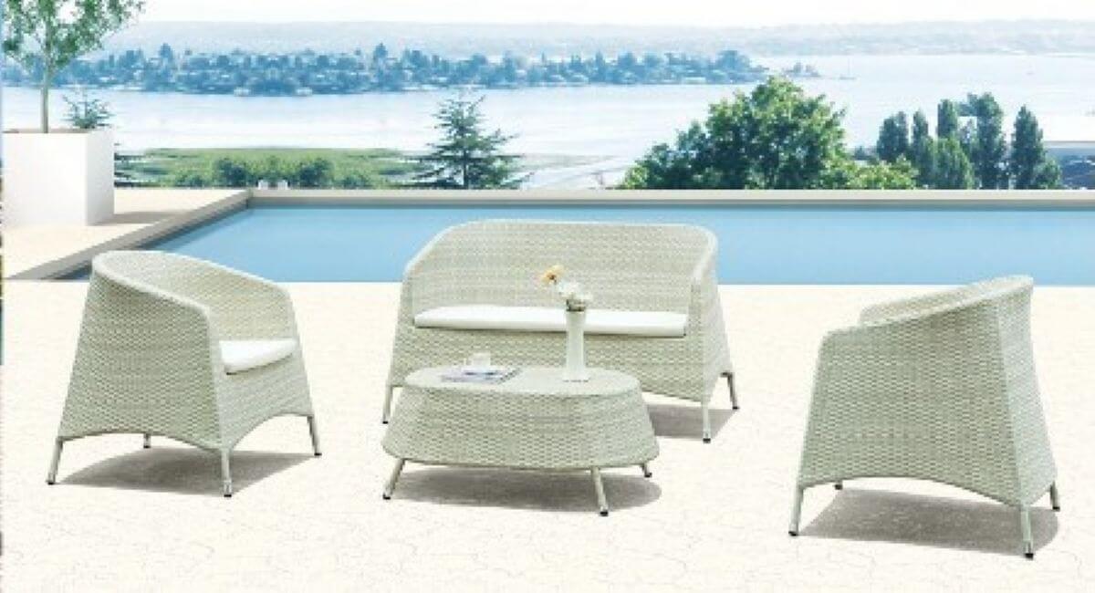 סט ישיבה מראטן דגם פלורידה לבן